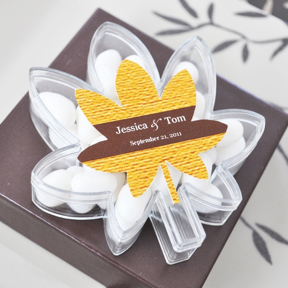 Fall in Love Leaf Personalized Acrylic Favor Containers