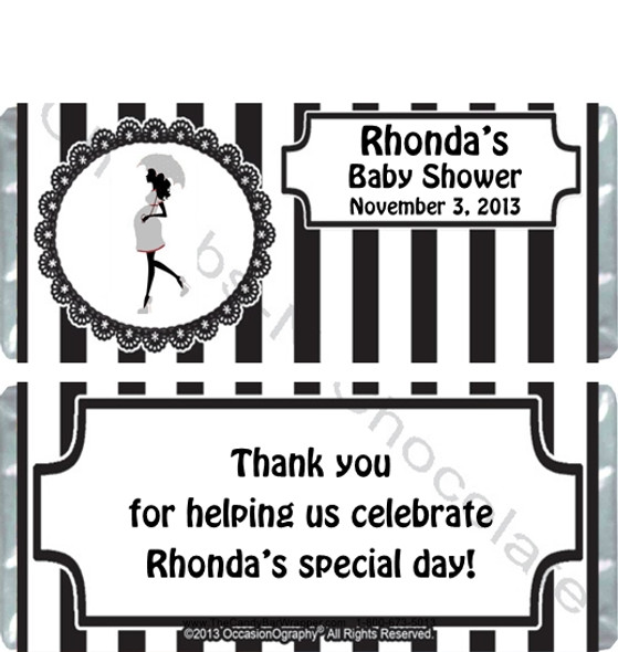 Black Stripe Baby Shower Candy Wrappers