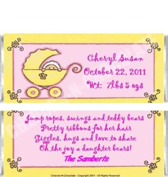 Girl Stroller Candy Bars Sample