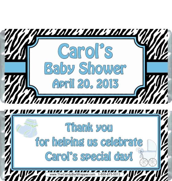 Blue Zebra Baby Shower Candy Wrapper