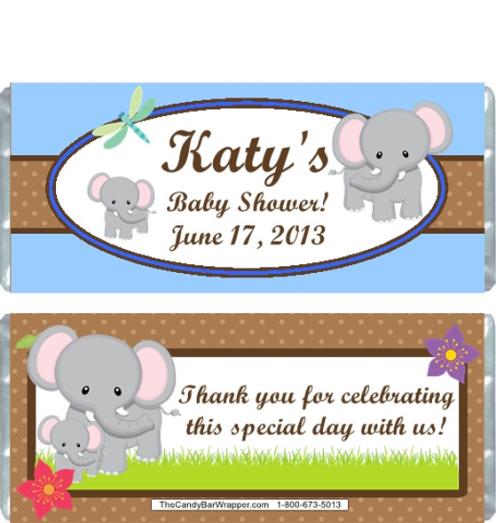 Elephant Blue Baby Shower Candy Wrapper