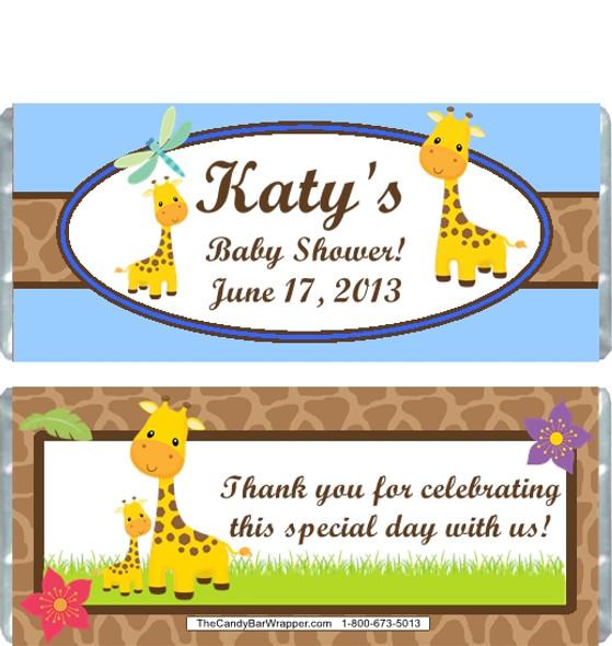 Giraffe Blue Baby Shower Candy Wrapper