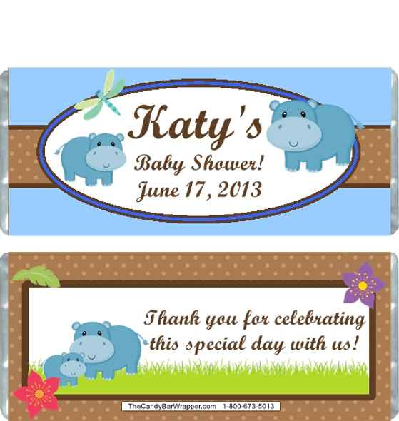 Hippo Blue Baby Shower Candy Wrappers