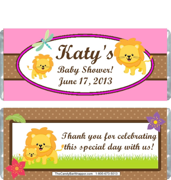 Lion Pink Baby Shower Candy Wrappers