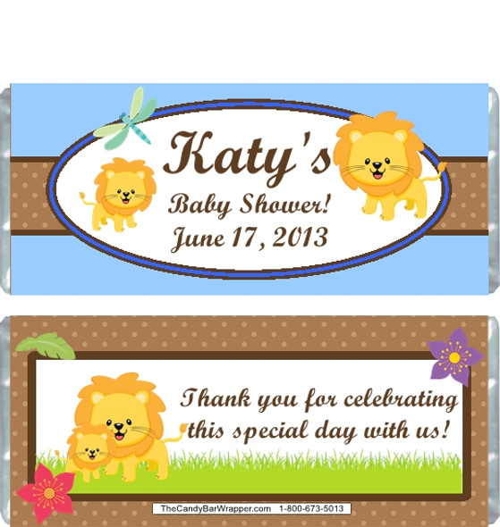 Lion Blue Baby Shower Candy Wrappers