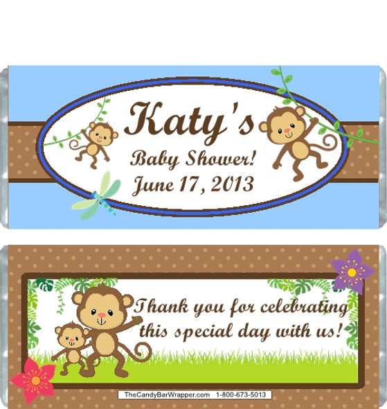 Monkey Blue Baby Shower Candy Wrapper