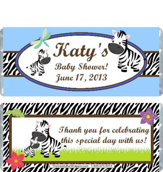 Zebra Blue Baby Shower Candy Wrapper