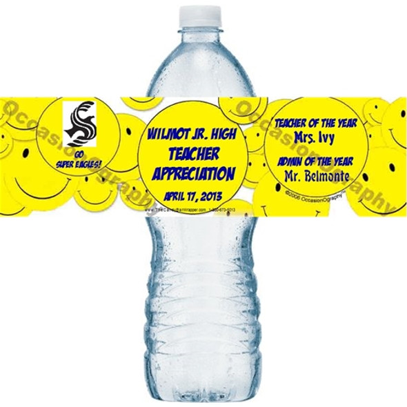Smiley Face Water Bottle Labels