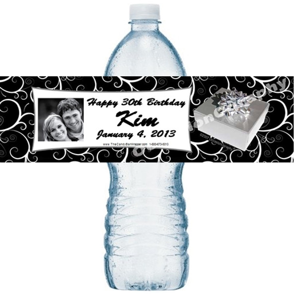 Silver Present Water Bottle Labels
