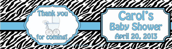 Blue Zebra Baby Shower Water Bottle Labels