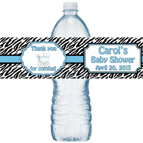 Blue Zebra Water Bottle Labels
