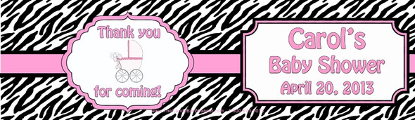Pink Zebra Baby Shower Water Bottle Labels