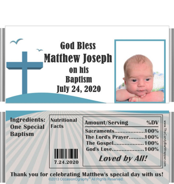 Baptism Candy Bar Wrappers with Nutritional Label