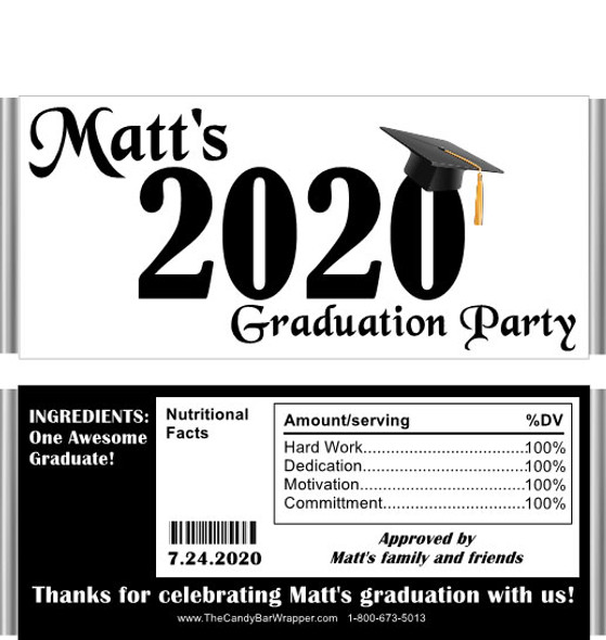Black Graduation Year with Nutritional Label Candy Wrappers