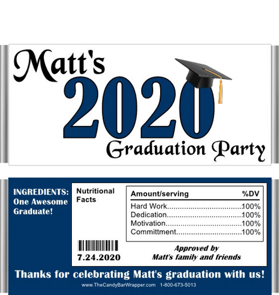 Dark Blue Graduation with Nutritional Label Candy Wrappers