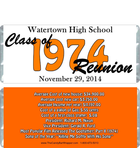 Class Reunion Year Candy Wrappers
