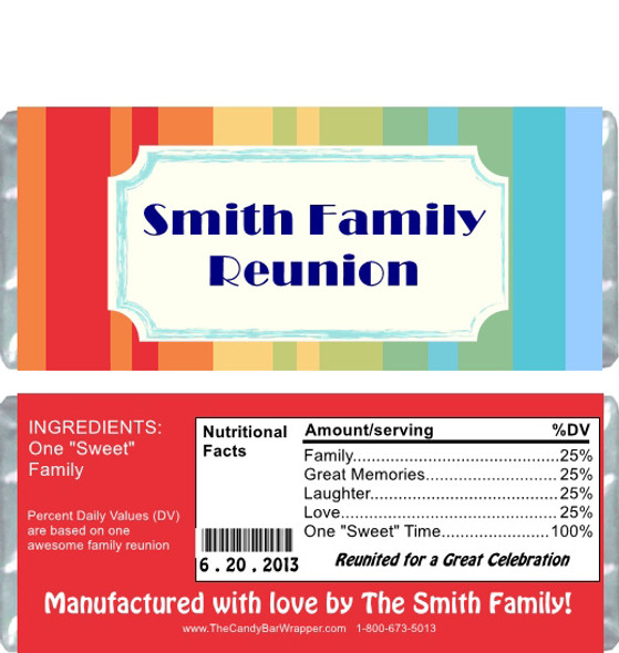 Striped Family Reunion Candy Wrappers