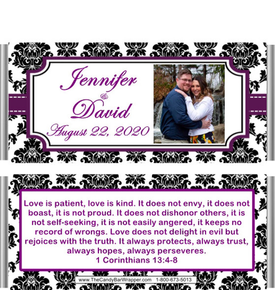 Purple Black Damask Candy Wrappers with Picture
