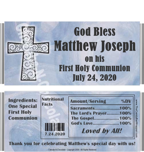 First Holy Communion Candy Bar Wrappers with Nutritional Label