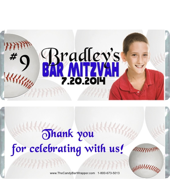 Bar Mitzvah Baseball Candy Wrappers