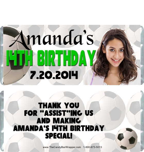 Soccer Birthday Girl Candy Wrappers