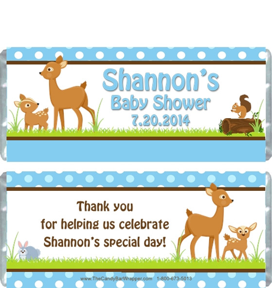Forest Animals Blue Baby Shower Candy Wrappers