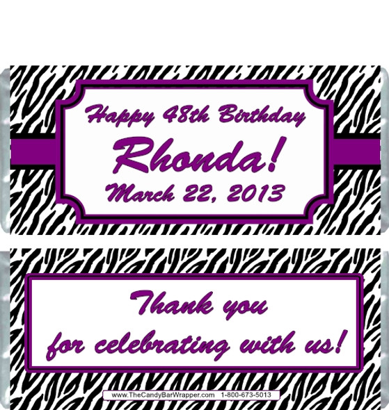 Zebra Print Candy Bar Wrappers