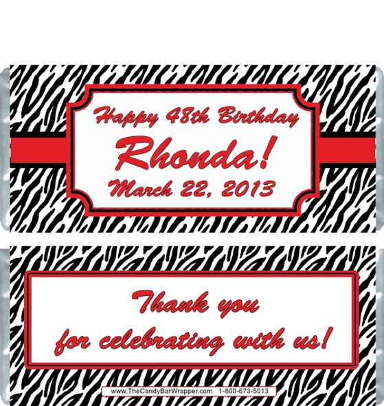Zebra Print Candy Bar Wrappers - Red