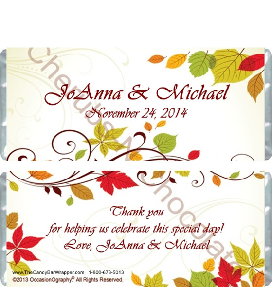 Autumn Vine Wedding Candy Wrappers