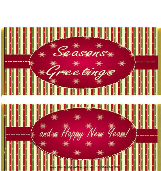 Striped Christmas Candy Bar Wrappers