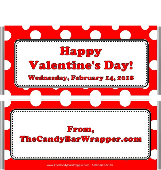 Valentine's Day Polka Dot Candy Bar Wrappers