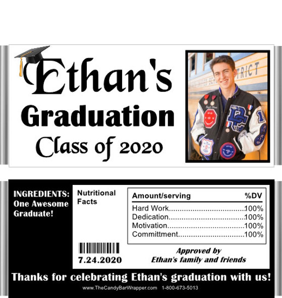 Black Graduation Chocolate Bar Candy Wrappers with Nutritional Label