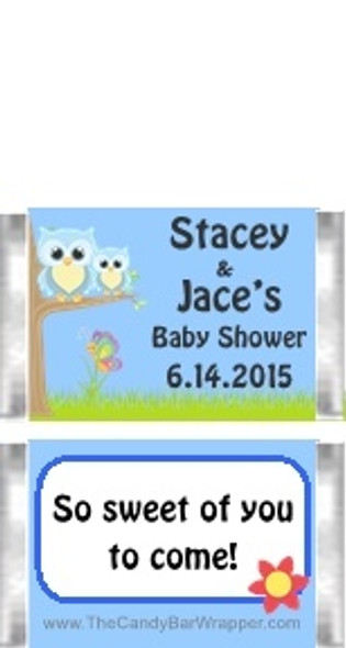 Owl Blue Baby Shower Mini Candy Bars