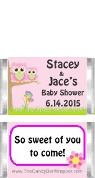 Owl Pink Baby Shower Mini Candy Bars