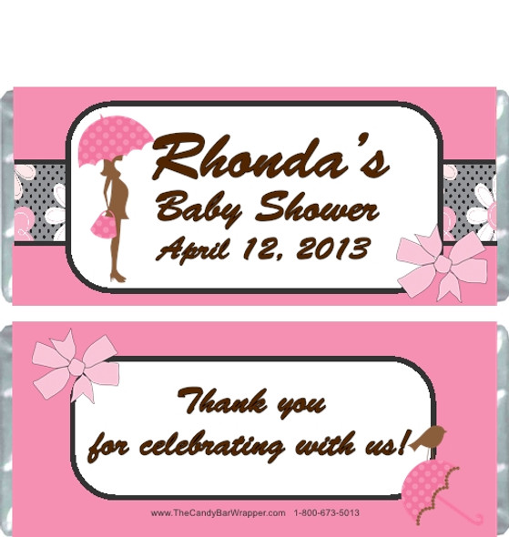 Modern Pink Baby Shower Candy Wrappers