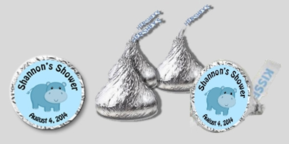 Blue Hippo Baby Shower Hershey Kisses