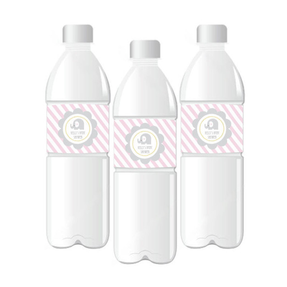 Pink Elephant Personalized Water Bottle Labels