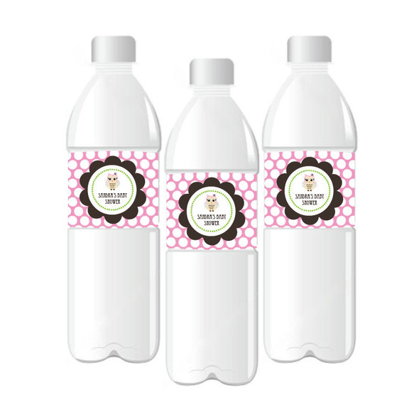 Pink Owl Personalized Water Bottle Labels