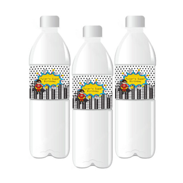 Super Hero Boy Birthday Personalized Water Bottle Labels