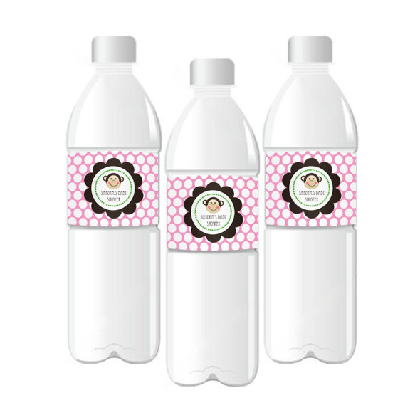 Pink Monkey Party Personalized Water Bottle Labels
