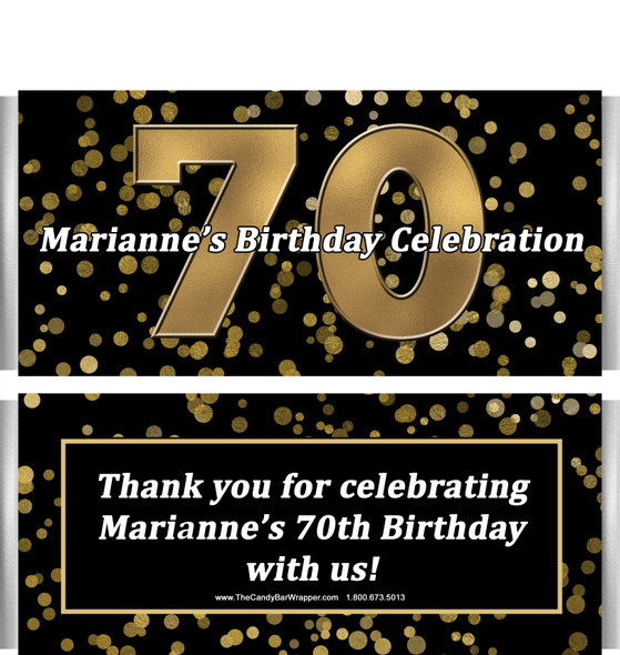 70th Birthday Candy Bar Wrappers