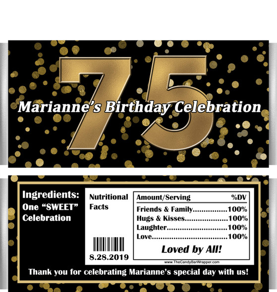 75th Birthday Candy Wrappers