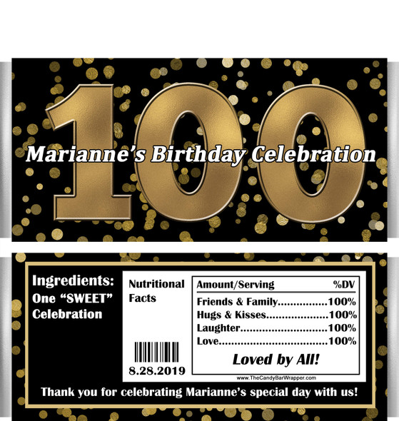 100th Birthday Candy Wrappers