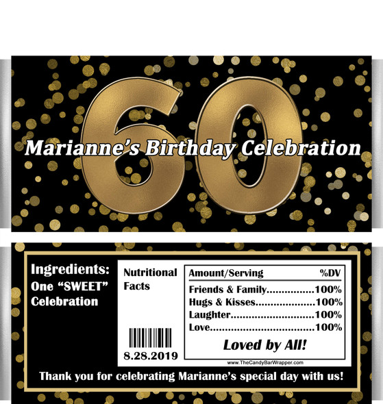 60th Birthday Chocolate Bars