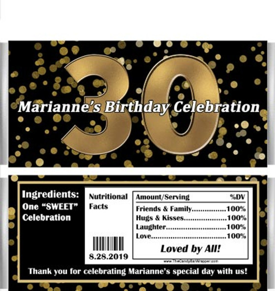 30th Birthday Candy Bars