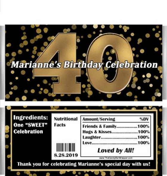 40th Birthday Candy Bars