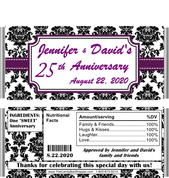 25th Anniversary Black Damask Candy Bar Wrappers with Nutritional Label