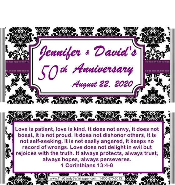 50th Anniversary Black Damask Candy Wrappers