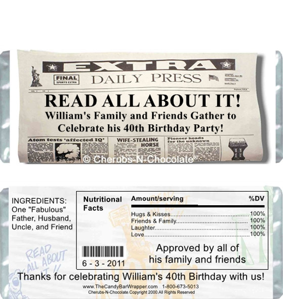 Over the Hill Daily News Candy Wrappers