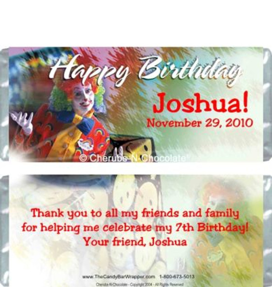 Birthday Clown Candy Wrapper Sample